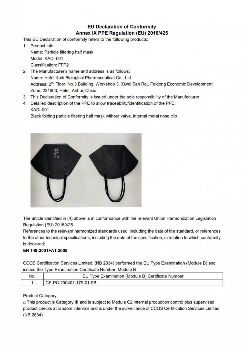 mascarilla negra ffp2