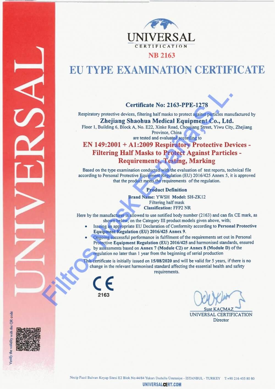 certificacion mascarilla nosk
