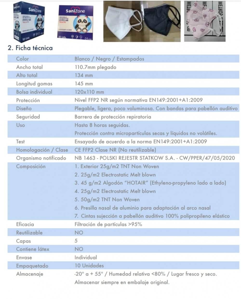 caracteristicas mascarillas ffp2